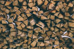 A large quantity of firewood from birch royalty free stock image