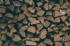 A large quantity of firewood from birch royalty free stock images