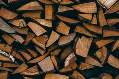 A large quantity of firewood from pine royalty free stock photo