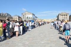 Large Queue waiting to enter Palace of Versailles Royalty Free Stock Images