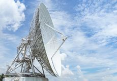 Large radio antenna astronomy dish in earth communication antenna system center station. Large radio antenna astronomy dish turn up skyward on blue sky in earth stock images