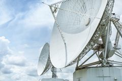 Large radio antenna astronomy dish in earth communication antenna system center station. Large radio antenna astronomy dish turn up skyward on blue sky in earth stock image