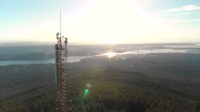 Large radio cell towers overlooking Vancouver. 4K 24FPS.