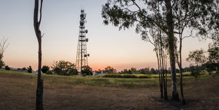 Large radio and communications tower in Queensland. Communications and radio tower in Redbank Plains, Brisbane, Queensland Stock Photo
