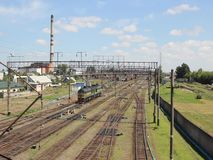 Large railway junction. Railway junction on July 19, 2014 in Baranovichi, Belarus stock video