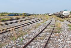 Large railway yard landscape with train on the right Stock Images