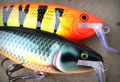 Large Rapala Super Shad Raps. Rapala Super Shad Raps are primarily used for fishing for large species of fish such as muskie, big bass or pike stock images