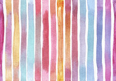 Large raster horizontal seamless illustration with pattern made of gradient red, purple and yellow stripes. Hand drawn watercolor Royalty Free Stock Photography