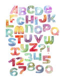 Large raster illustration with watercolor letters and numbers sequence. stock illustration