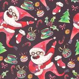 Large raster seamless pattern with dancing santa, christmas tree and holiday accessories drawn with watercolor on black paper. Large raster seamless pattern Stock Photography