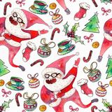Large raster seamless pattern with dancing santa, christmas tree and holiday accessories drawn with watercolor on white paper. Large raster seamless pattern Stock Photos