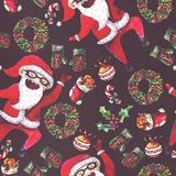 Large raster seamless pattern with dancing santa, christmas wreath and holiday accessories drawn with watercolor on black textured. Paper Royalty Free Stock Photography
