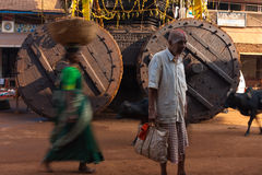 Large Ratha Chariot Wheels Painted Man Gokarna Stock Image