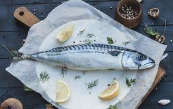 Large raw mackerel fish on a wooden stand. Cooking fish on the fire stock photo