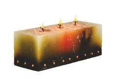 Large Rectangular Candle with Three Burning Wicks Stock Photos
