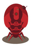 Large red alien robot. With 4 arms and spider legs isolated on white Royalty Free Stock Images