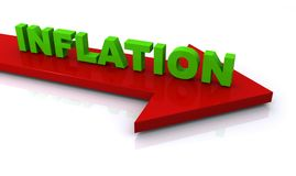 "Inflation. Large red arrow with text ""inflation"" in green 3D letters on top of the arrow and pointing gently downwards, white background Stock Photo"