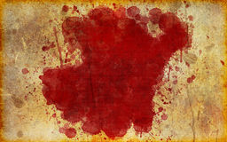 Large, Red Blood Stain on Old, Aged Paper. Illustration of a blood stain splattered on old, yellowed, aged grunge parchment Royalty Free Stock Images
