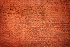 Large red brick wall. Grunge texture and background Stock Photos