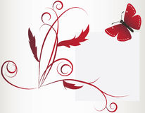 A large red butterfly and flower Stock Photos