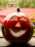 Large red ceramic pumpkin on a market in Old Town Stock Photo