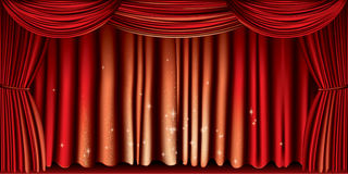 Large red curtain Royalty Free Stock Photos