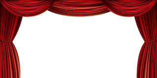Large red curtain. Isolated on a white background vector illustration