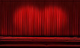 Large Red Curtain With Spotlights royalty free stock photography