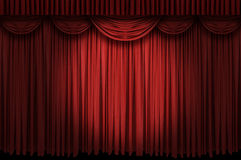 Large red curtain stage. Opening with spot lights and dark background Stock Photo