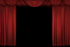 Large red curtain stage. Opening with spot lights and dark background Royalty Free Stock Photo