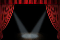 Large red curtain stage. Opening with spot lights and dark background Stock Photography