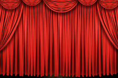 Large red curtain stage. Closed before the show Stock Images
