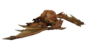 Large Red Dragon Lying Dead Stock Image