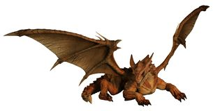 Large Red Dragon Prowling. 3d digitally rendered illustration Stock Images