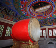 Large red drum decorated inside Chinese temple Royalty Free Stock Photos