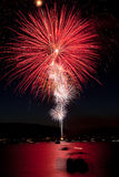 Large Red Fireworks Stock Photo