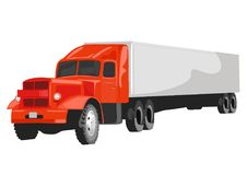 Large red goods vehicle on white background Stock Images