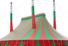 Large red and green circus big top canvas on white. Background Royalty Free Stock Images