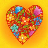 Large red heart with flowers on a bright seamless background. Romantic floral wallpaper. It can be used for decorating of wedding invitations, greeting cards Stock Images