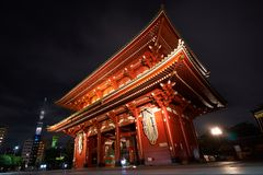 A large red lamp in Sensoji Temple, Japan. Also known as Shrine of Asakusa Night photography It is a famous tourist destination of royalty free stock images