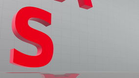 Large red letters descend from above and spell the word sale Stock Image