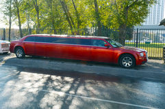 Large red limousine Stock Photo