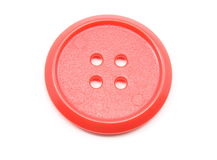 Large Red Plastic Button Stock Photography