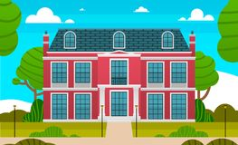 Large red private house and empty front yard with green grass and trees landscape horizontal. Beautiful colorful picture. Children s world. flat design Vector Illustration