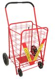 Large Red Push Cart. Isolated over white background stock photos