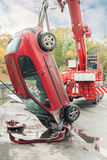 Rescue vehicle helps injured in car crash. Large red rescue vehicle helps injured in car crash. Car close-up royalty free illustration