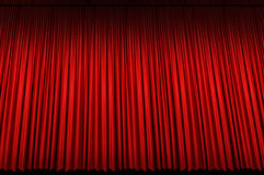 Large Red Stage Curtain Stock Photography