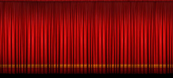 Large Red Stage Curtain. With light and shadow Stock Photo