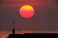 Large red sun. Sunset with a large sun Stock Image