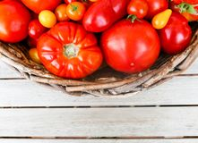 A variety of tomatoes in a basket on table top. Large red tomatoes and multi-colored cherry tomates in a woven basket on a wooden table top with room for copy Royalty Free Stock Photography